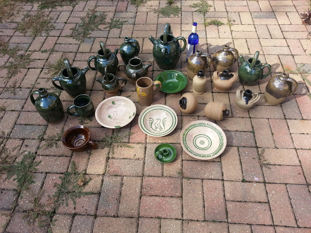 A partial collection of David Hovde's 2015 historical re-enactment pottery