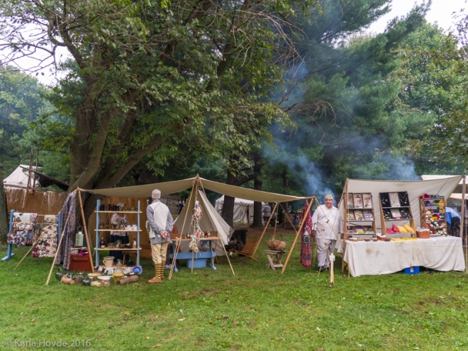 La Compagnie des Beaux Eaux Feast of the Hunters' Moon campsite and booth in 2016.