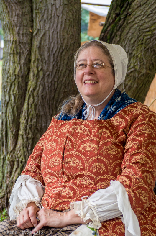 Marj Rush Hovde is a historical textile maker and re-enactor at the Feast of the Hunters' Moon