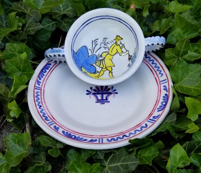 Faience plate and wine cup